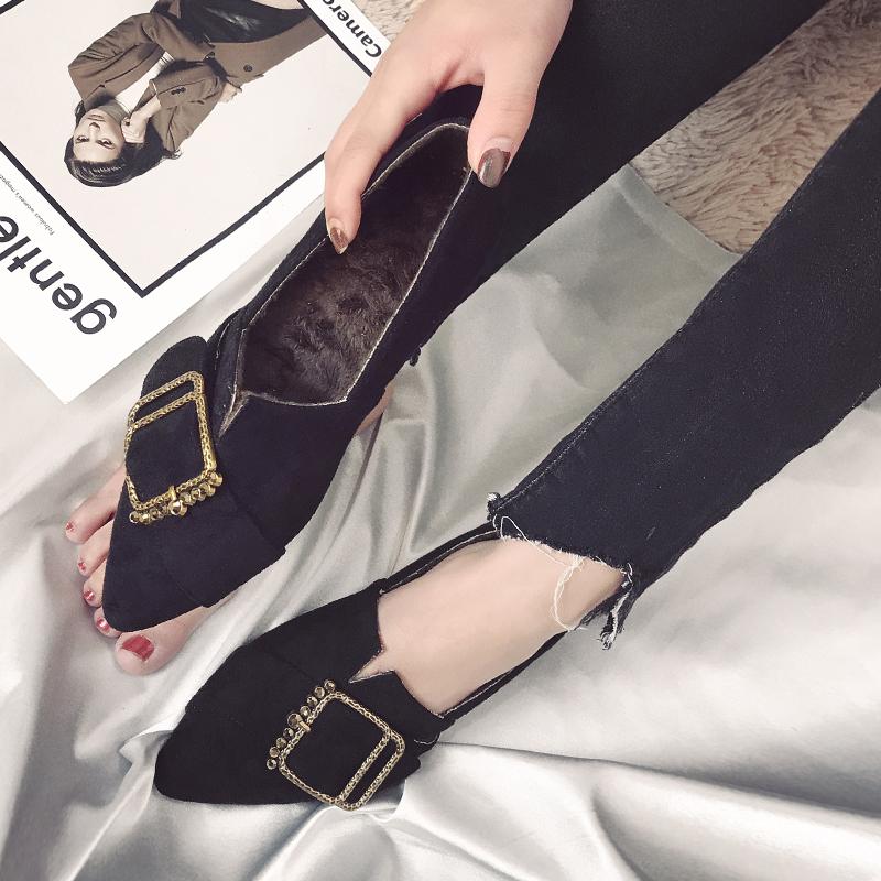 券后68.00元晚晚鞋平底单鞋社会女鞋秋鞋女2018新款网红女鞋豆豆鞋大码41-43