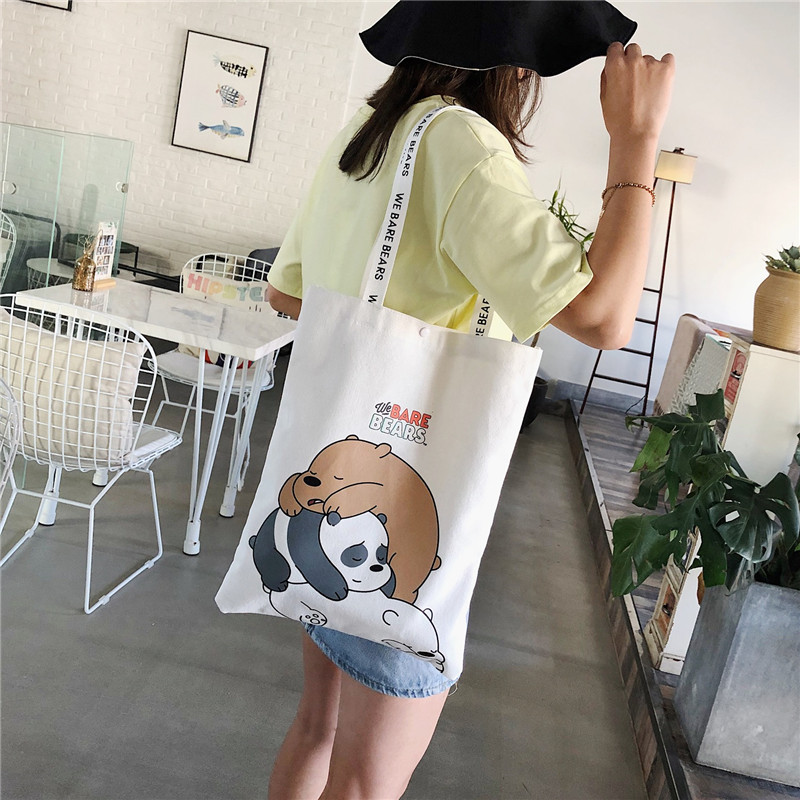 Canvas bag female Japanese ins student literature and art simple one shoulder Korean version large capacity book carrying portable bag lazy wind