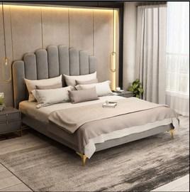 美式布艺床主卧简约现代北欧港式轻奢ins网红双人婚床1.8米小户型
