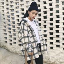 宽松慵懒风薄款 秋季 韩国 学生小个子格子毛呢外套女中长款 连帽大码