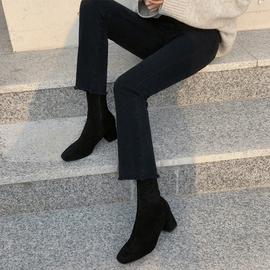 黑色牛仔褲女微喇叭九分2021春裝新款高腰顯瘦直筒寬松百搭加絨褲圖片