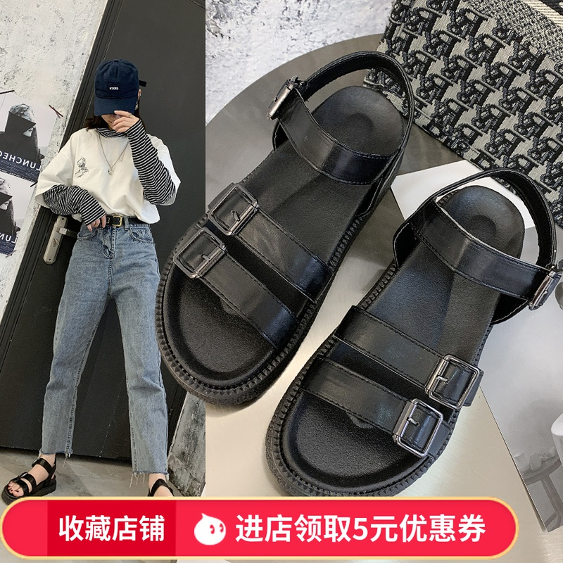 Net red buckle belt Korean sandal 2020 summer new flat bottom soft sole versatile Roman womens shoes pregnant womens anti slip loose