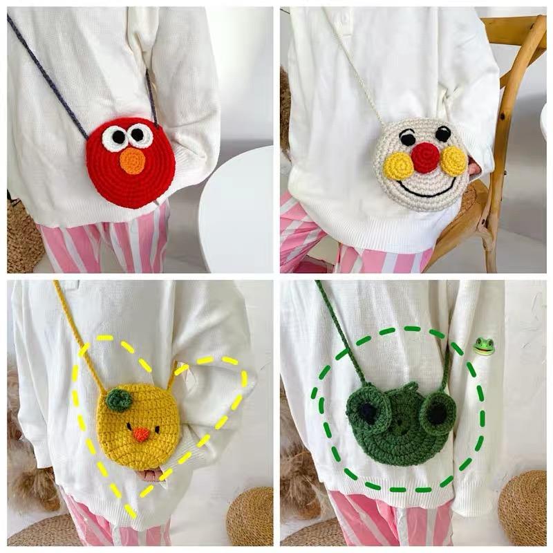 韩国可爱毛线针织零钱包女卡通迷你青蛙小鸡斜挎包单肩包包学生女