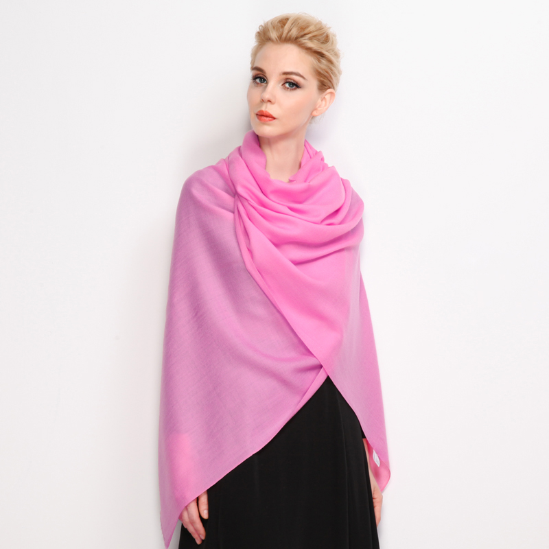 Good morning antelope, female autumn and winter warm pure wool pure color rose pink super long scarf large shawl multi use