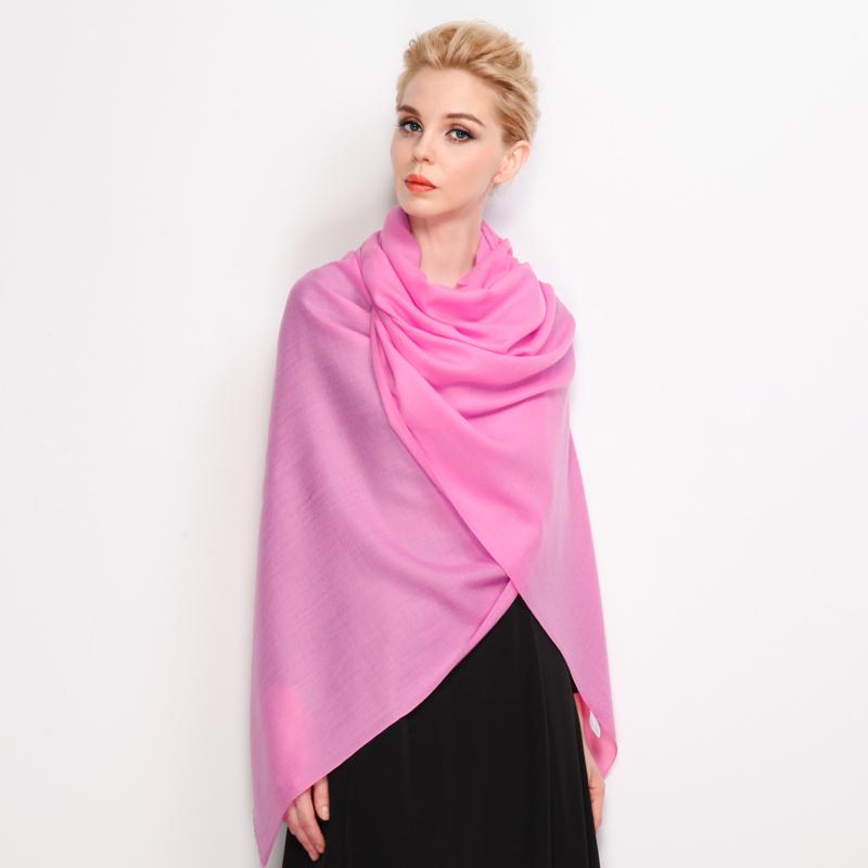 羚羊早安 女秋冬保暖纯羊毛纯色玫粉色超长围巾 大规格披肩多用