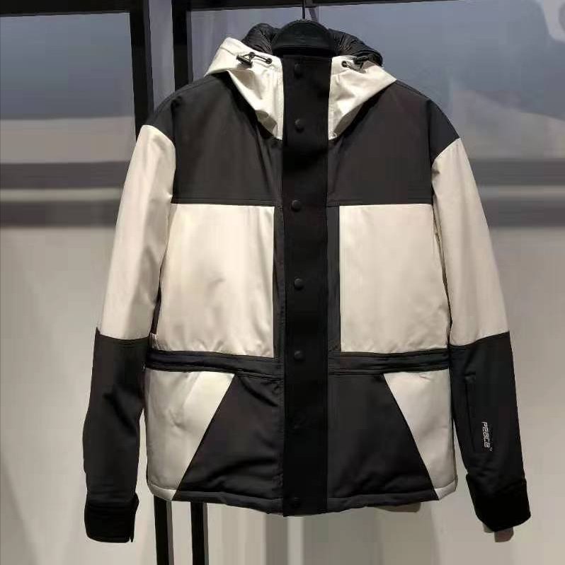 New winter fashion in 2019 black and white contrast hooded down jacket b1ac94706
