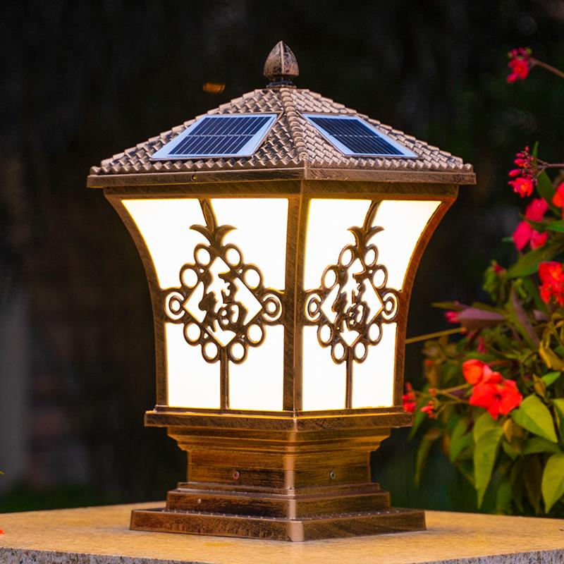 限8000张券围墙柱头灯太阳能户外庭院灯防水室外门柱灯花园别墅大门家用超亮