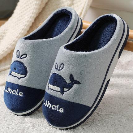 男士棉拖鞋冬季加绒 厚底室内保暖情侣棉拖鞋冬天防滑棉拖鞋男女