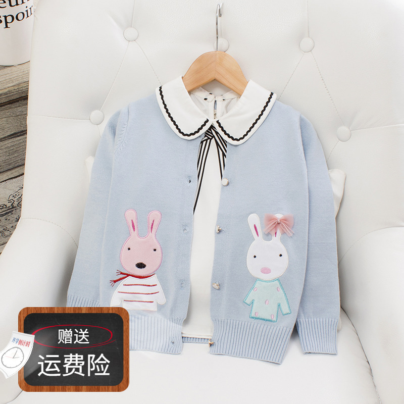 Girls T-shirt cardigan childrens spring and autumn foreign style thin style girl baby cartoon Sweater Girl embroidery sweater coat