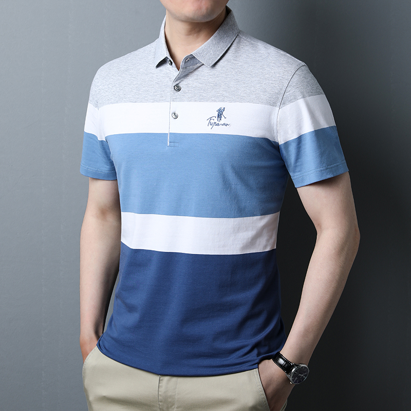 Summer mens short sleeve T-shirt cotton loose Stripe Polo Shirt middle aged dad summer casual body t-shirt mens clothes