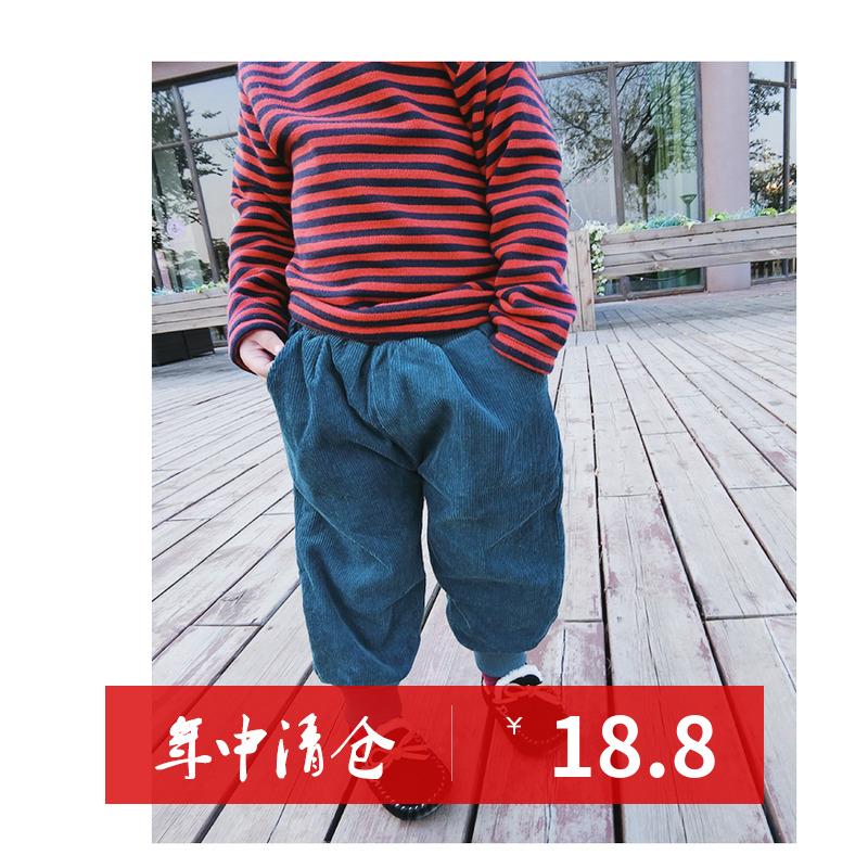 2018冬装新款女童宝宝加绒加厚灯芯绒长裤子儿童韩版休闲裤