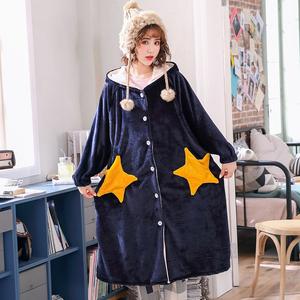 2018冬季新款加厚法兰绒五角星开衫带帽大码家居服女可外穿