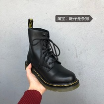 秋冬新款网红马丁靴韩版低跟百搭瘦瘦靴子2019系带短靴女粗跟复古
