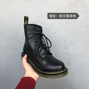 2020新款英伦系带平底机车短靴骑士军靴马丁靴情侣款男女靴子潮价格