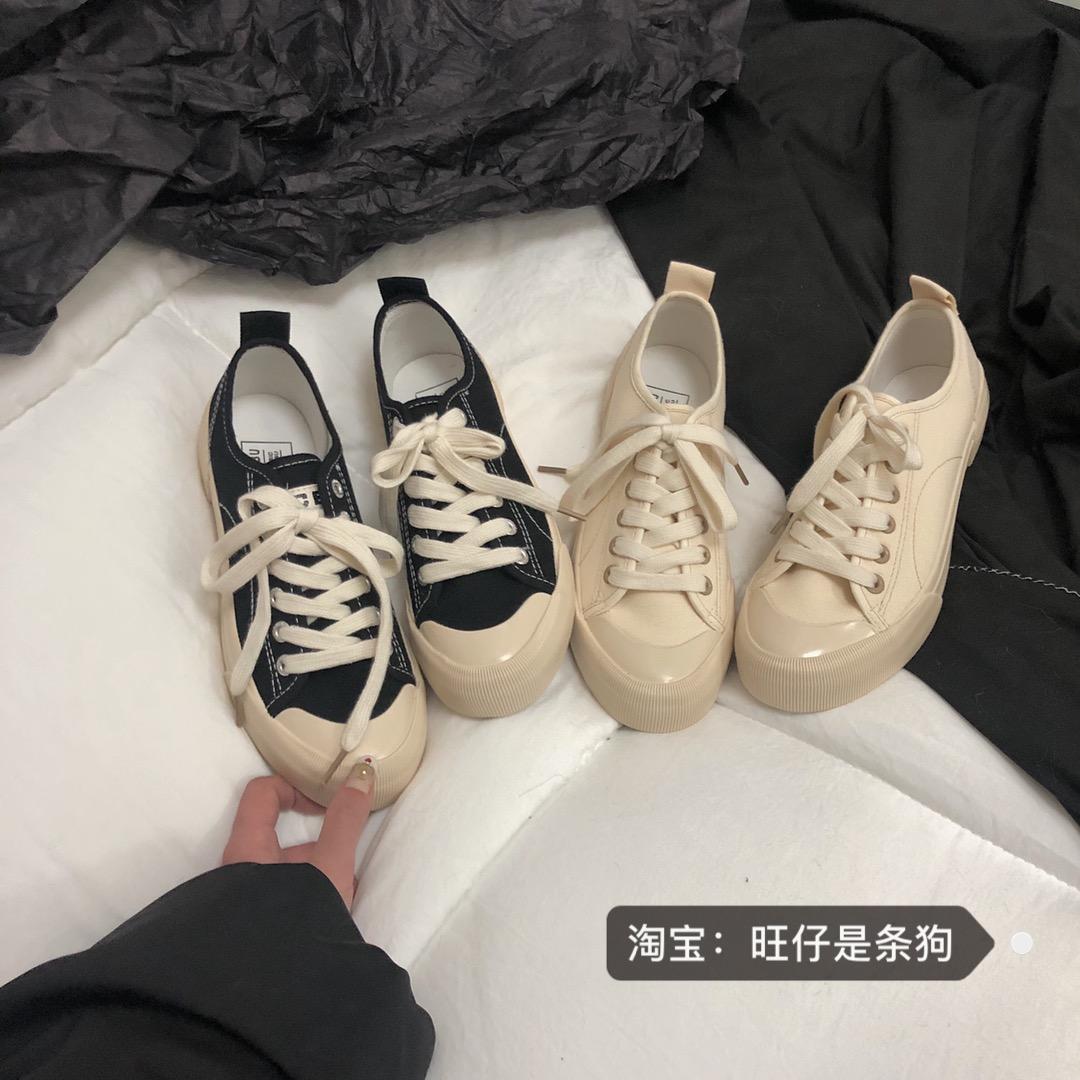 2020新款文艺复古小白鞋女2019韩国春季港风街拍网红女鞋子帆布潮