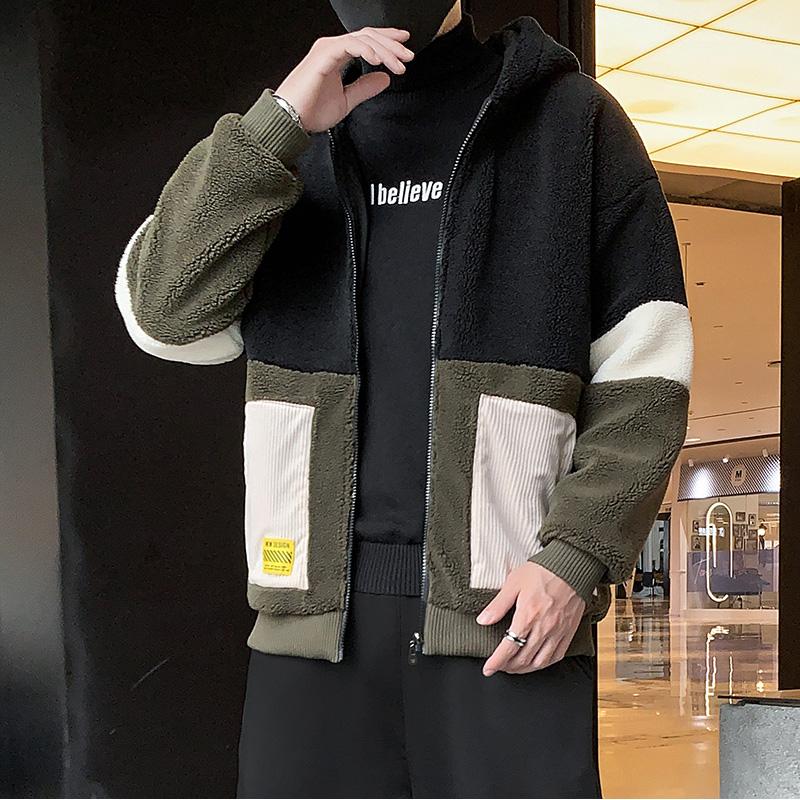 青少年2019新款韩版潮流冬装休闲棉袄羊羔绒拼接外套男M9002P78
