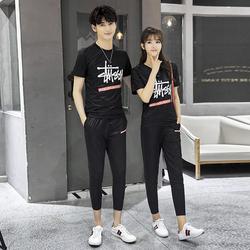 情侣装夏装2018新款韩版bf短袖T恤男女学生套装夏班服潮TZ819P65