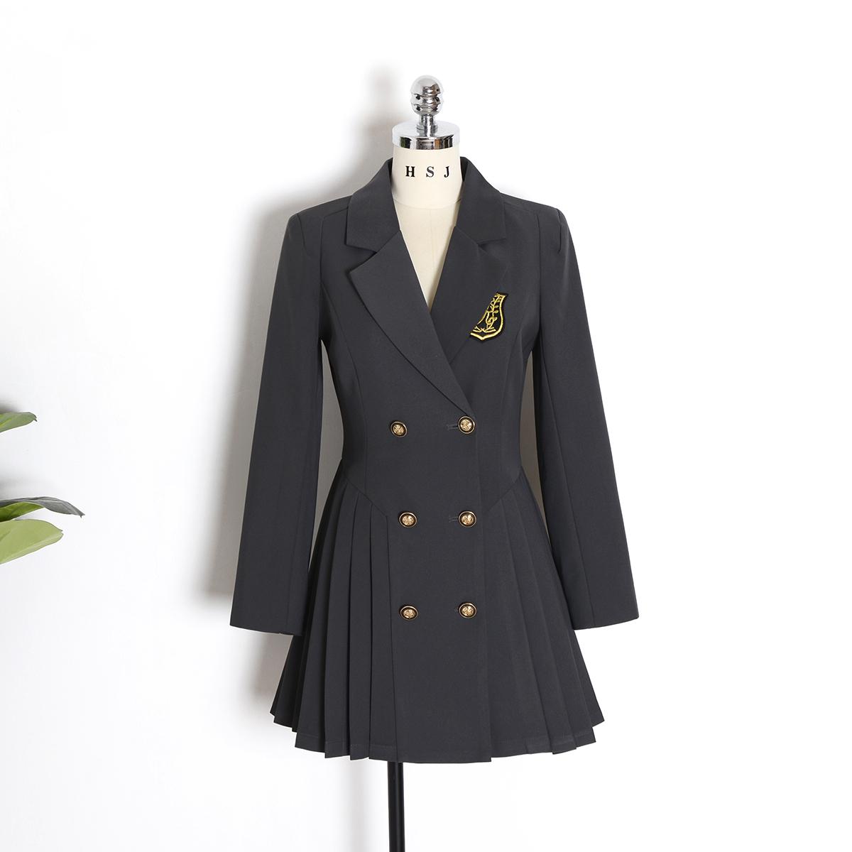 College style suit dress female 2021 spring new waist slim long-sleeved pleated short skirt
