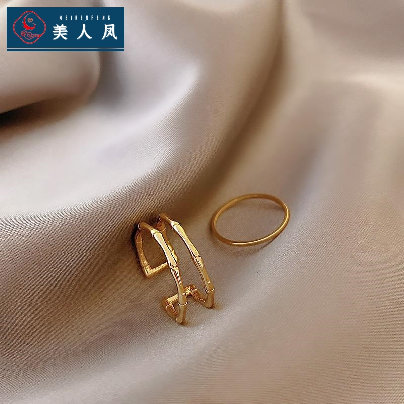 Small design bamboo double-layer ring womens inschaowanghong simple cool wind opening adjustable index finger ring