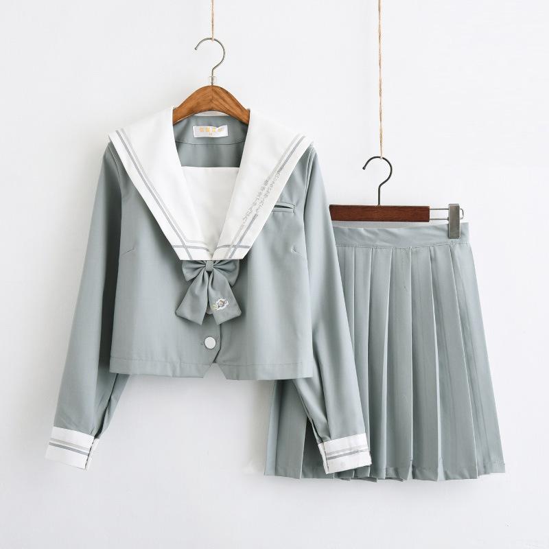 热销0件不包邮日系正统JK制服裙茉莉琉璃二本软妹水手服日本校服班服学院风套装