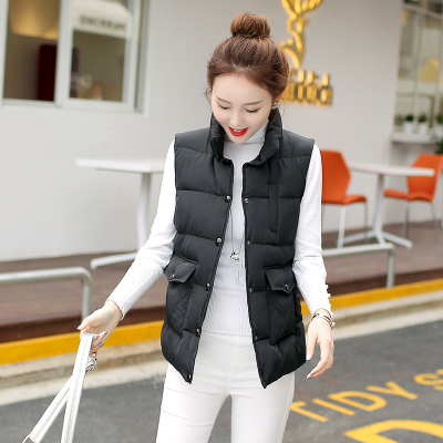 2020 new autumn and winter thickened short down cotton vest Korean womens loose and thin waistcoat cotton vest