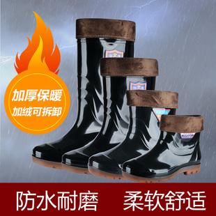 包邮短筒男士雨靴中筒耐磨厚底雨鞋高筒防水防滑劳保胶鞋套鞋水靴