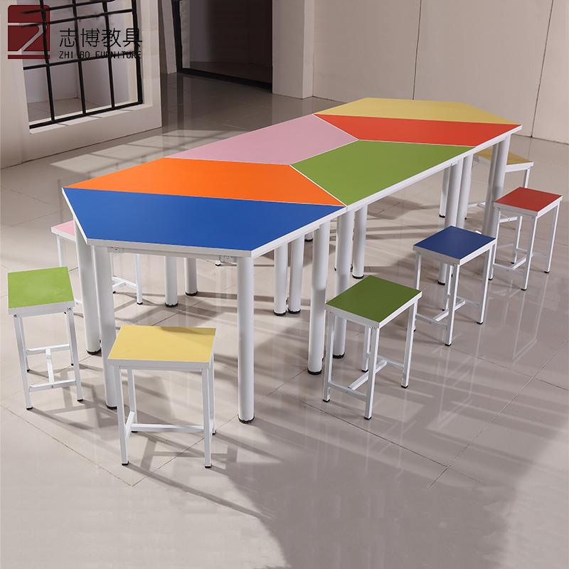 Трапециевидный стол разноцветный Комбинированный стол и стул шестиугольный восьмиугольный стол чтения чтения учебного искусства учащихся начальной и средней школы study table