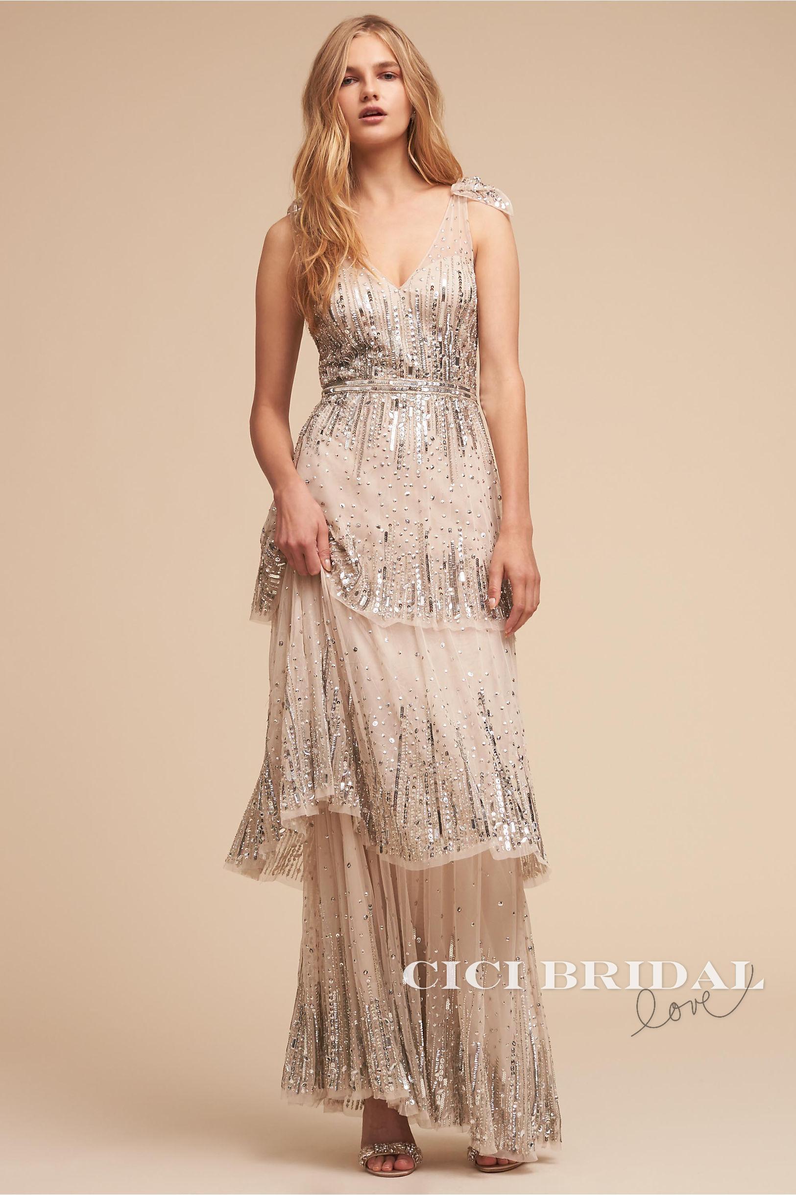 【美国正品代购】Aidan Mattox 甜美吊带钉珠层叠轻婚纱晚礼服