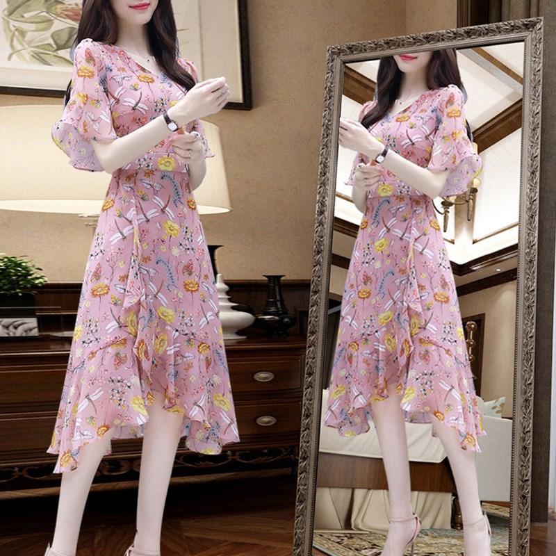 碎花雪纺连衣裙流行女装2020夏季新款气质韩版修身显瘦中长款裙子