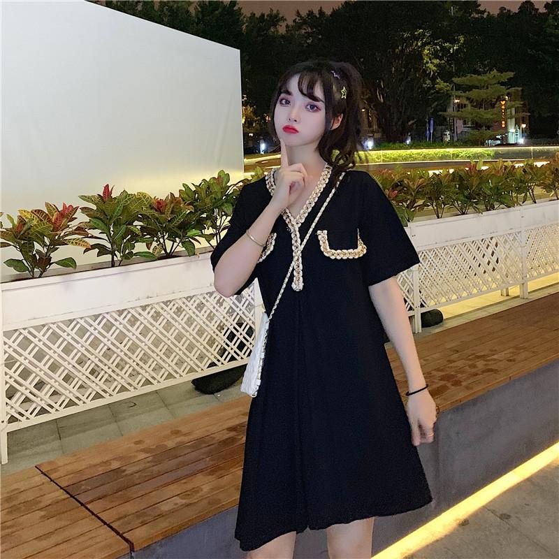 控價42元 實拍實價 韓版不規則下擺V領短袖連衣裙