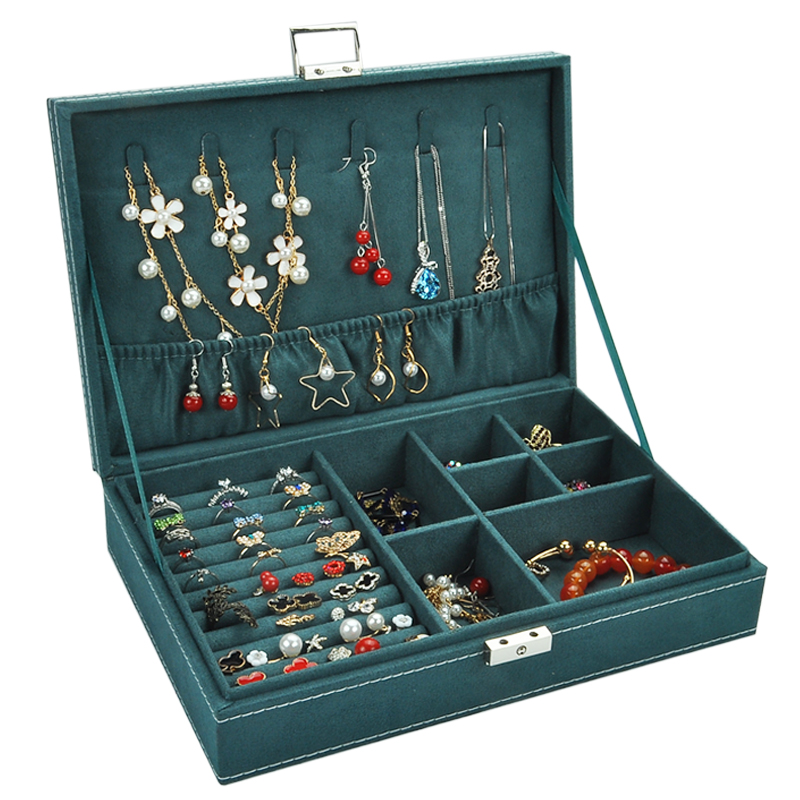 首饰盒带锁木质欧式大容量耳钉耳环项链手镯复古风饰品收纳盒简约图片