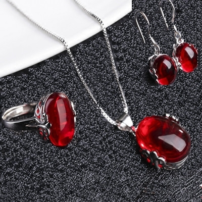 925 Sterling Silver female ring Ruby open diamond ring Agate Pendant Earring Set retro fashion jewelry package