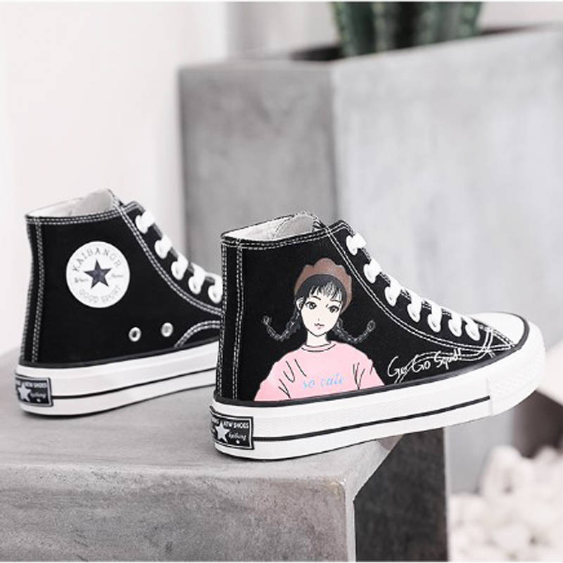 High top canvas shoes womens fashion spring 2020 new Korean version of versatile student retro cloth shoes ulzzang board shoes