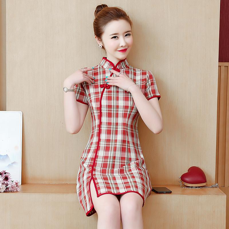 实拍改良旗袍连衣裙格子短款性感小个子学生年轻少女复古夏装