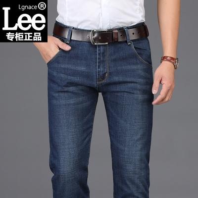 Lgnace lee牛仔裤男士冬季加绒加厚直筒宽松休闲修身商务男装长裤