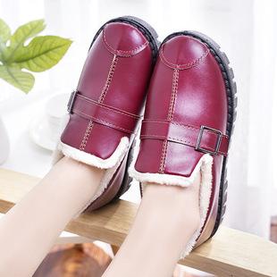 新款豆豆鞋冬季包根妈妈加绒pu棉鞋