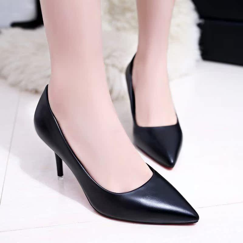 正装黑色工作鞋女细跟尖头中跟单鞋软皮鞋职业高跟鞋面试空姐女鞋