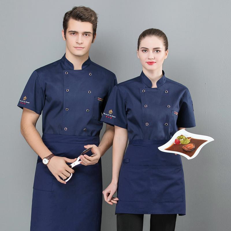厨师工作服短袖制服餐饮业烹饪工装厨师学校学员服装食堂餐厅后厨
