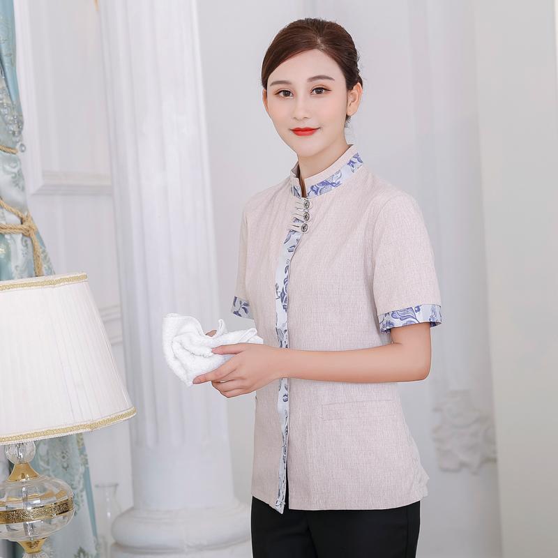 敬老院清洁工制服订做印字酒店宾馆客房工装保洁员工作服夏天短袖