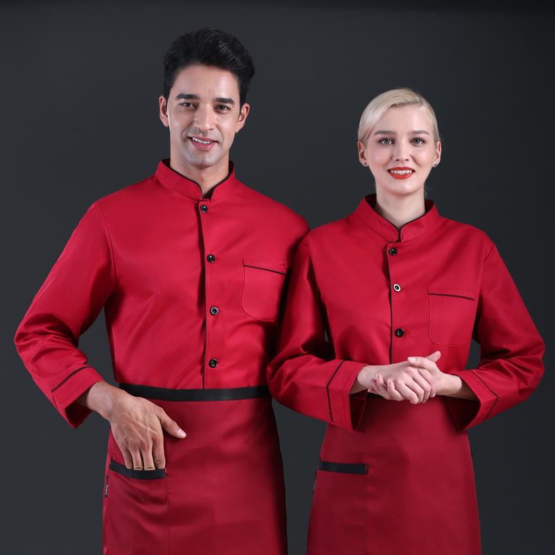 长袖厨师工作服咖啡师制服烘焙师工装面包师制服蛋糕服裱花师秋装