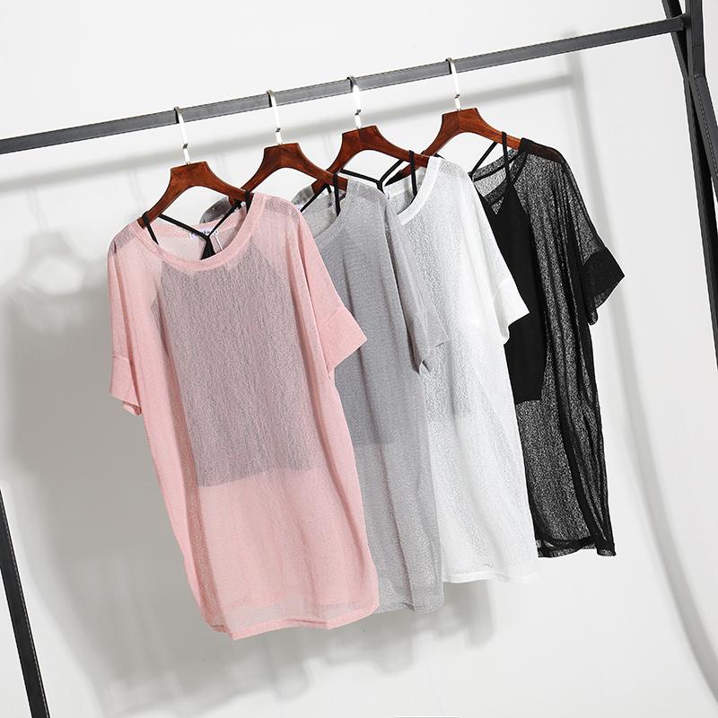 短袖女装小吊带两件套2018雪纺衫上衣夏宽松大码中长款纱网女罩衫
