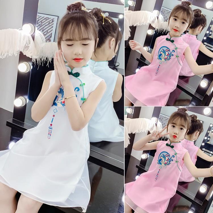 女童中国风旗袍蕾丝裙春装新款童装短袖刺绣汉服儿童网纱裙
