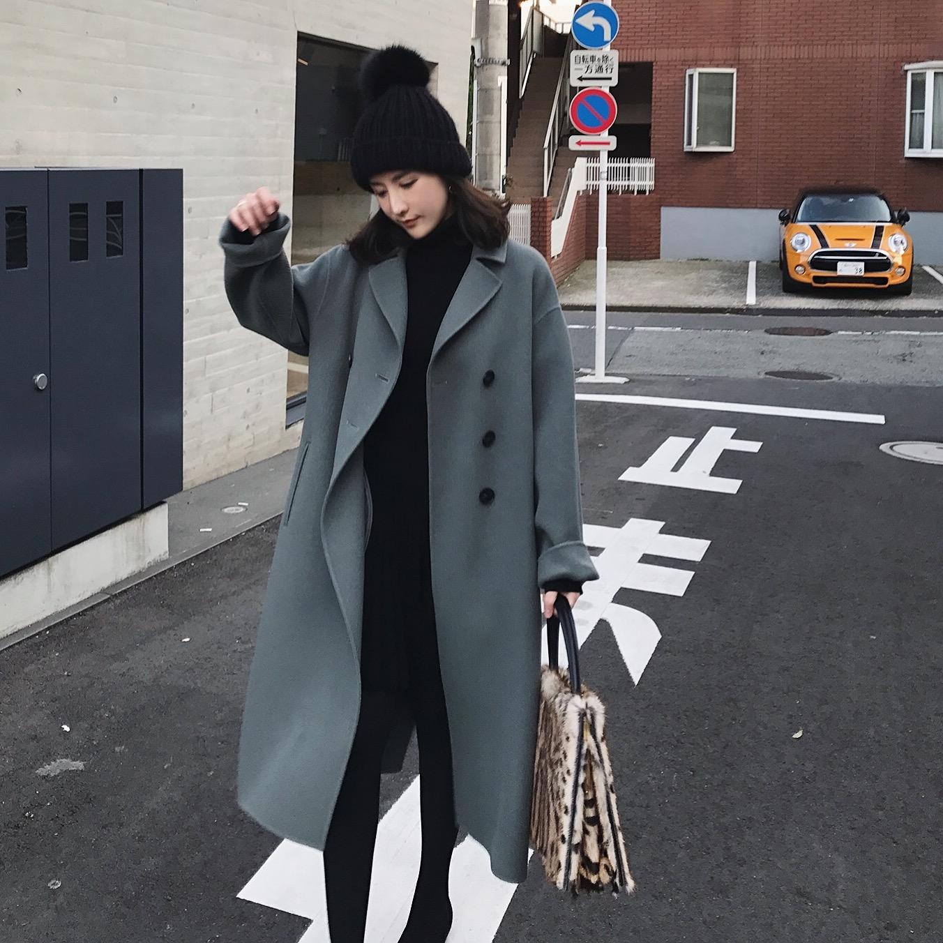 ◆反季折◆ZOWZOW呛口小辣椒雾霾蓝羊毛毛呢外套双面呢大衣Z17567