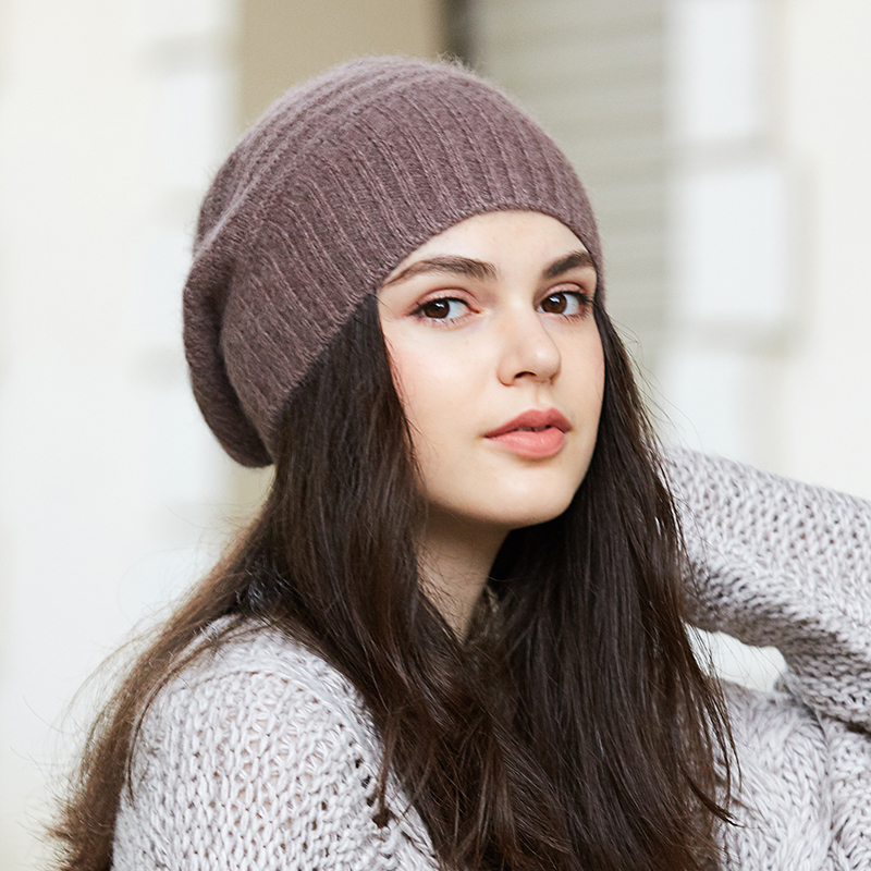 Pure cashmere hat ladies autumn and winter Korean versatile warm new sweet lovely British trend knitting wool hat