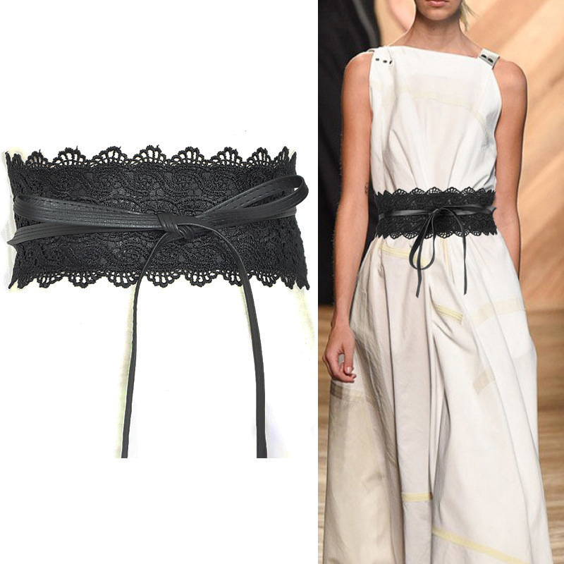 Lace lace belt womens wide bandage waist cover 100 collocation dress decoration bowknot waist show thin waist rope