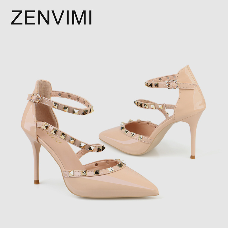 Zhenweimei sexy pointed point 2020 summer new rivet sexy womens super high heel sandals womens single shoes package mail