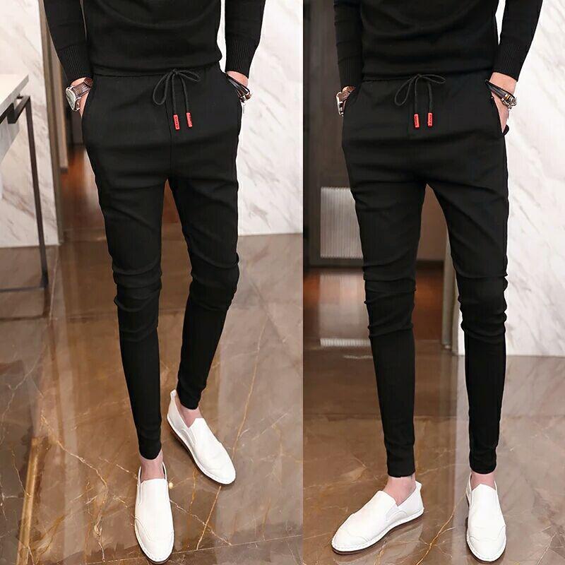 Social boys pants nine point mens pants spring and summer elastic all-around Leggings Korean version slim casual Leggings