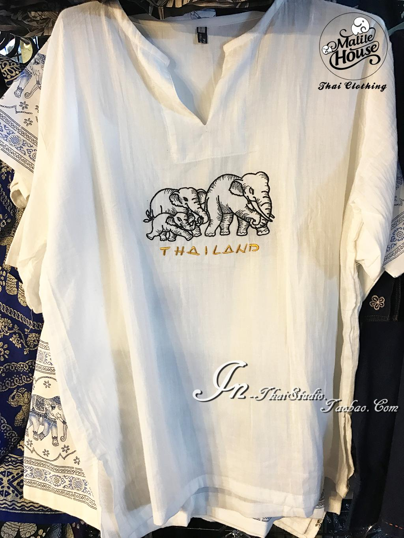 泰国本土棉麻男装刺绣大象图案t恤