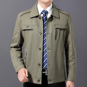 中年男士春秋季休闲男装薄款纯棉外套中老年夹克衫爸爸春装上衣服