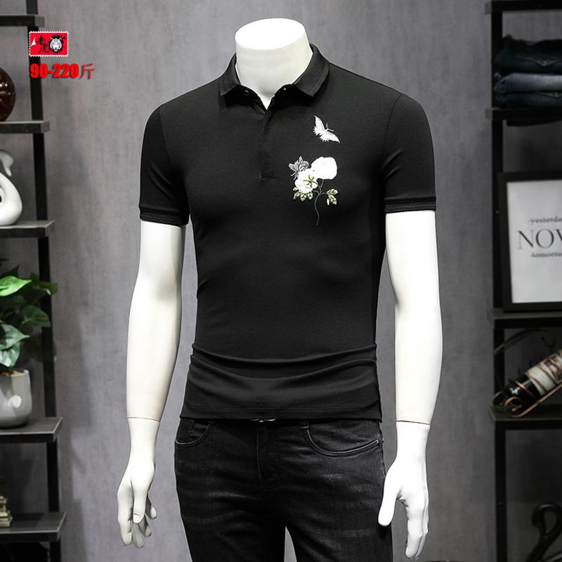 中国风POLO衫男士夏季蝴蝶刺绣玫瑰花T恤大码翻领短袖潮男装半袖